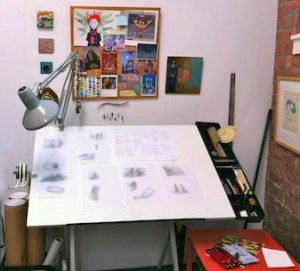 My drawing table with sketches