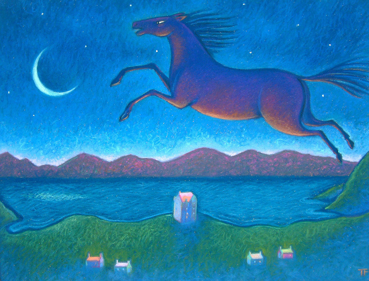 Night Horse - Pastels on paper