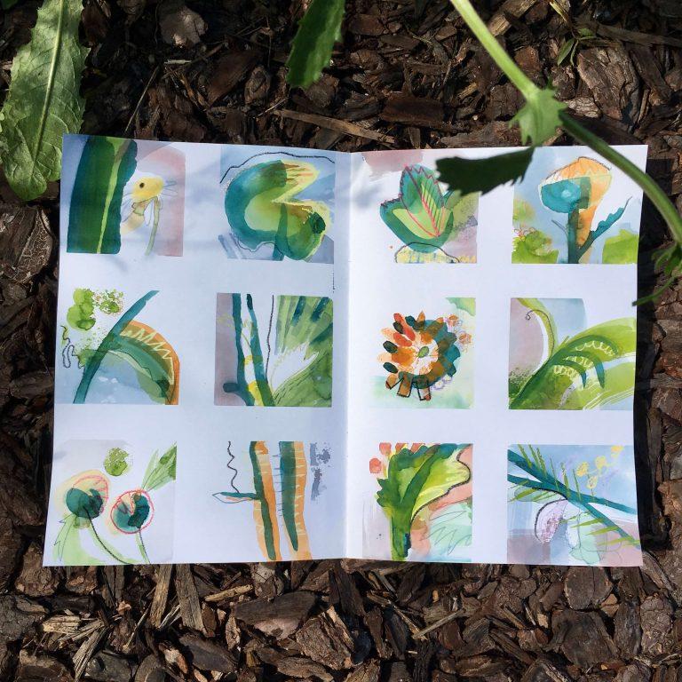 Teresa Flavin - day 1 sketchbook in the garden 2021
