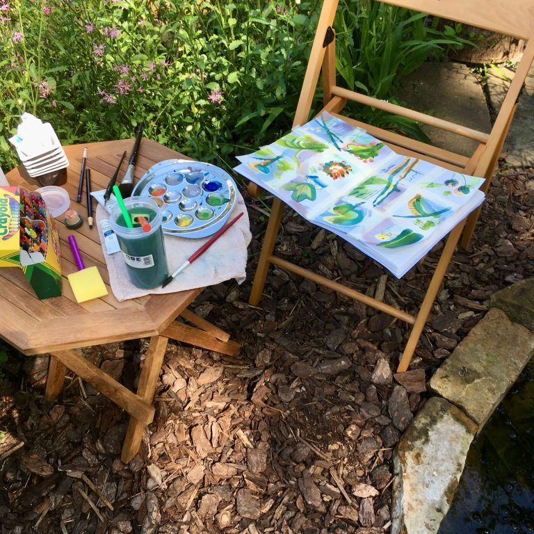 Teresa Flavin - sketching in the garden on day 1